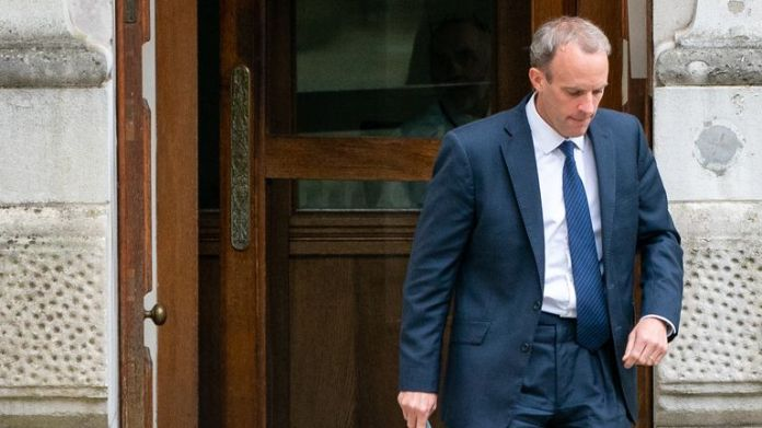 Foreign Secretary Dominic Raab leaves the Foreign Office in Westminster, London,
