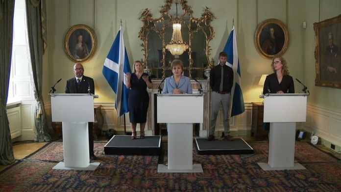 Nicola Sturgeon has described a new power-sharing agreement between the SNP and the Scottish Greens as 'groundbreaking'.
