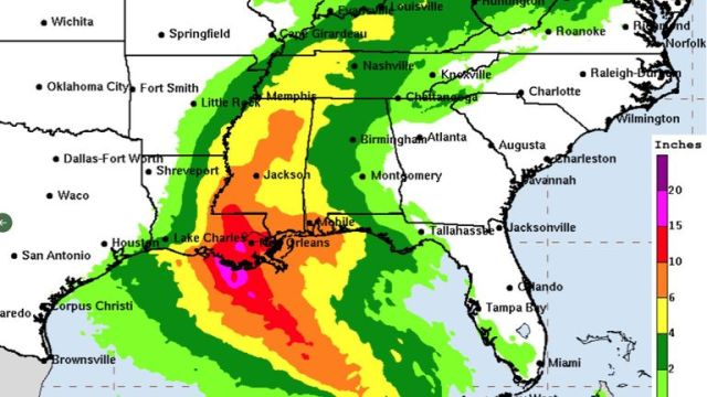 A chart showing the rainfall expected across the central Gulf Coast as Hurricane Ida hits Pic: National Hurricane Centre