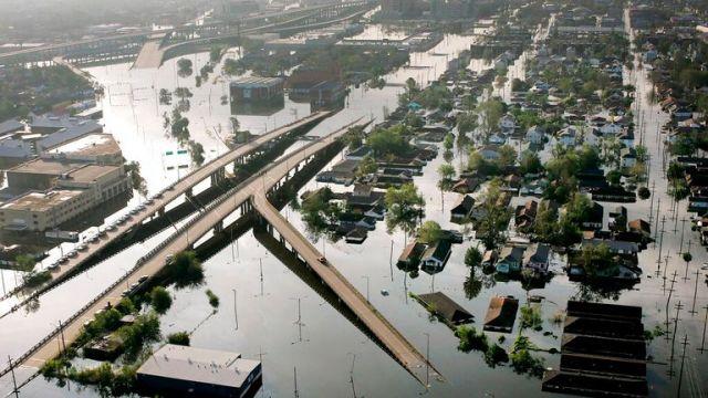 New Orleans underwater after Hurricane Katrina unleashed devastating flooding in 2005 Pic: AP Photo/David J. Phillip