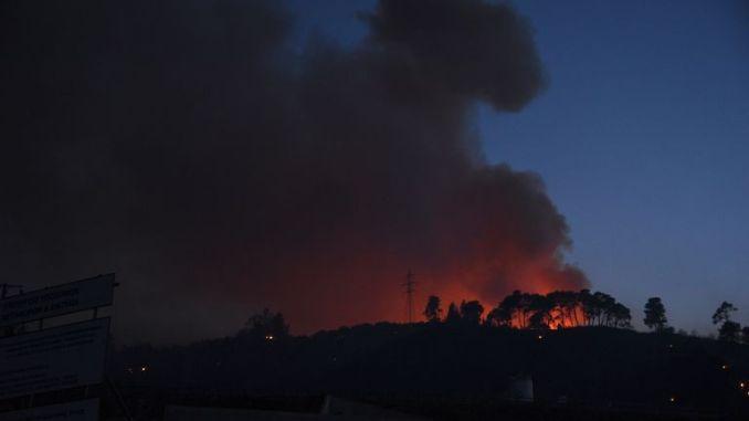 Smoke rises during  a wildfire near Lampiri village, west of Patras, Greece, Saturday, Jul. 31, 2021. Pic: AP