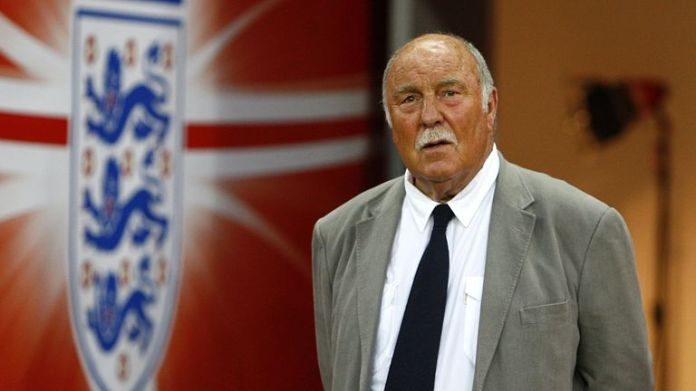 Jimmy Greaves makes his way on to the pitch at half time to collect his 1966 World Cup winners medal.