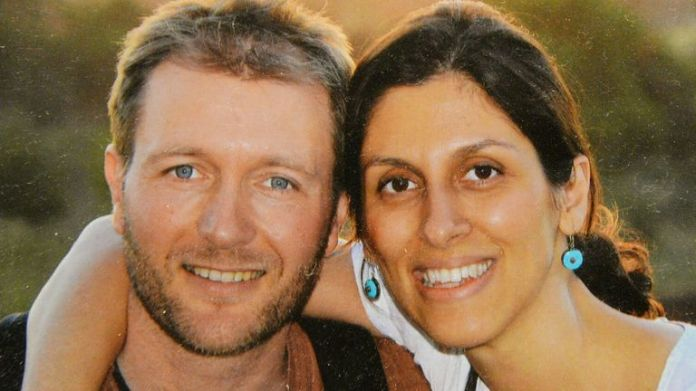 A photo of Richard Ratcliffe and his wife Nazanin Zaghari-Ratcliffe, who has been jailed in Iran, on display at their home in north London.