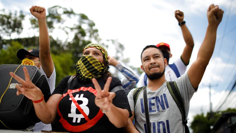 Union members take part in a protest against the use of Bitcoin as legal tender in San Salvador, El Salvador, on September 1, 2021. REUTERS / Jose Cabezas
