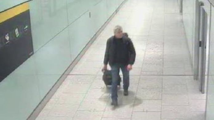 CCTV shows the suspect departing from Heathrow on 4 March 2018