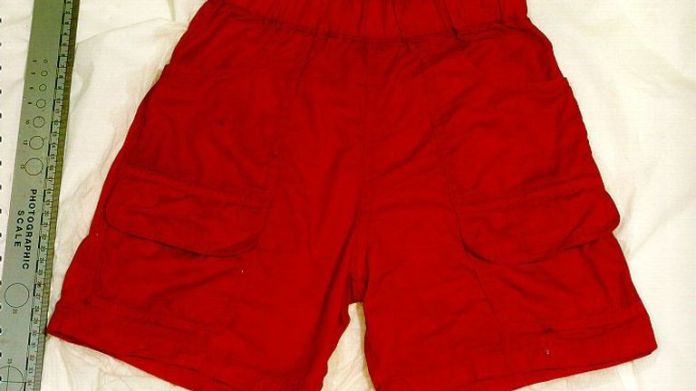 A pair of orange shorts, found on the torso of a young boy which was discovered floating in the River Thames. Detective Superintendent Adrian Maybanks, leading the investigation in the boy's death, said the butchered body, spotted by a member of the public. * who was crossing Tower Bridge, was of an Afro-Caribbean child aged around five-and-a-half. 02/07/03 : Police have arrested a man in Dublin in connection with the murder of the unidentified youngster who has been named Adam. Detectives fear