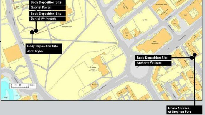Undated handout image issued by the Metropolitan Police of a map showing the spots where bodies were dumped by Stephen Port during his 16-month killing spree. Issue date: Thursday October 7, 2021.
