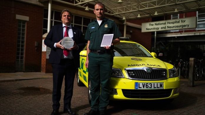 Dr Rob Simister and paramedic Patrick Hunter at the National Hospital For Neurology And Neurosurgery in London