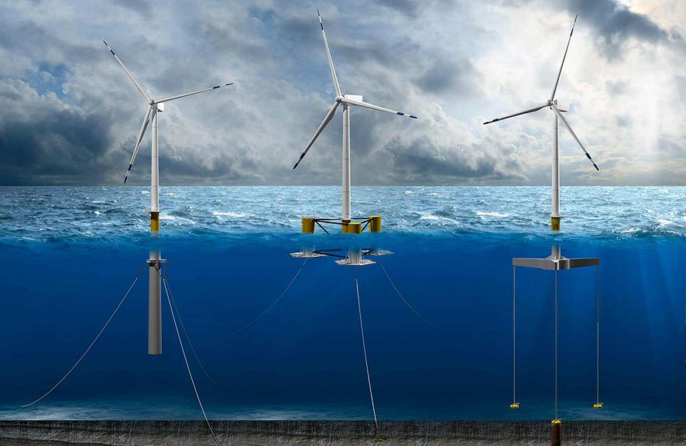 Illustration of floating wind turbines using chains to anchor to the sea floor