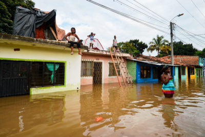A flooded street in Cali, Colombia in 2017, after heavy rains caused the overflowing of the Cauca River.