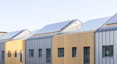 Solar PV panels on the Power of 10 townhouses in Örebro, Sweden.