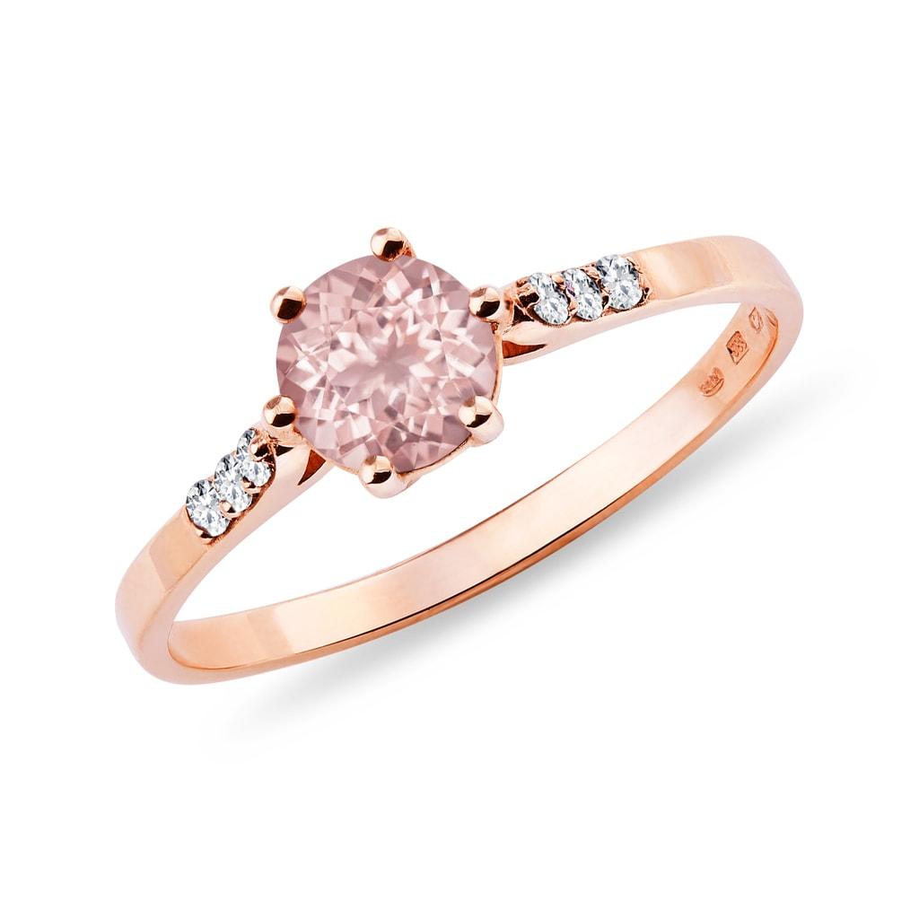 Ring mit Rosenquarz und Gold diamantyRov  KLENOTA