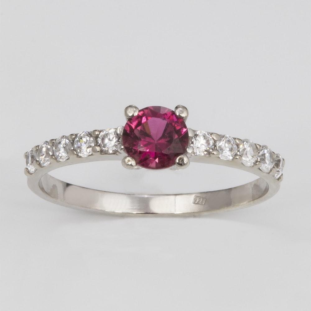 KLENOTA Goldring mit Rhodonit und Diamanten