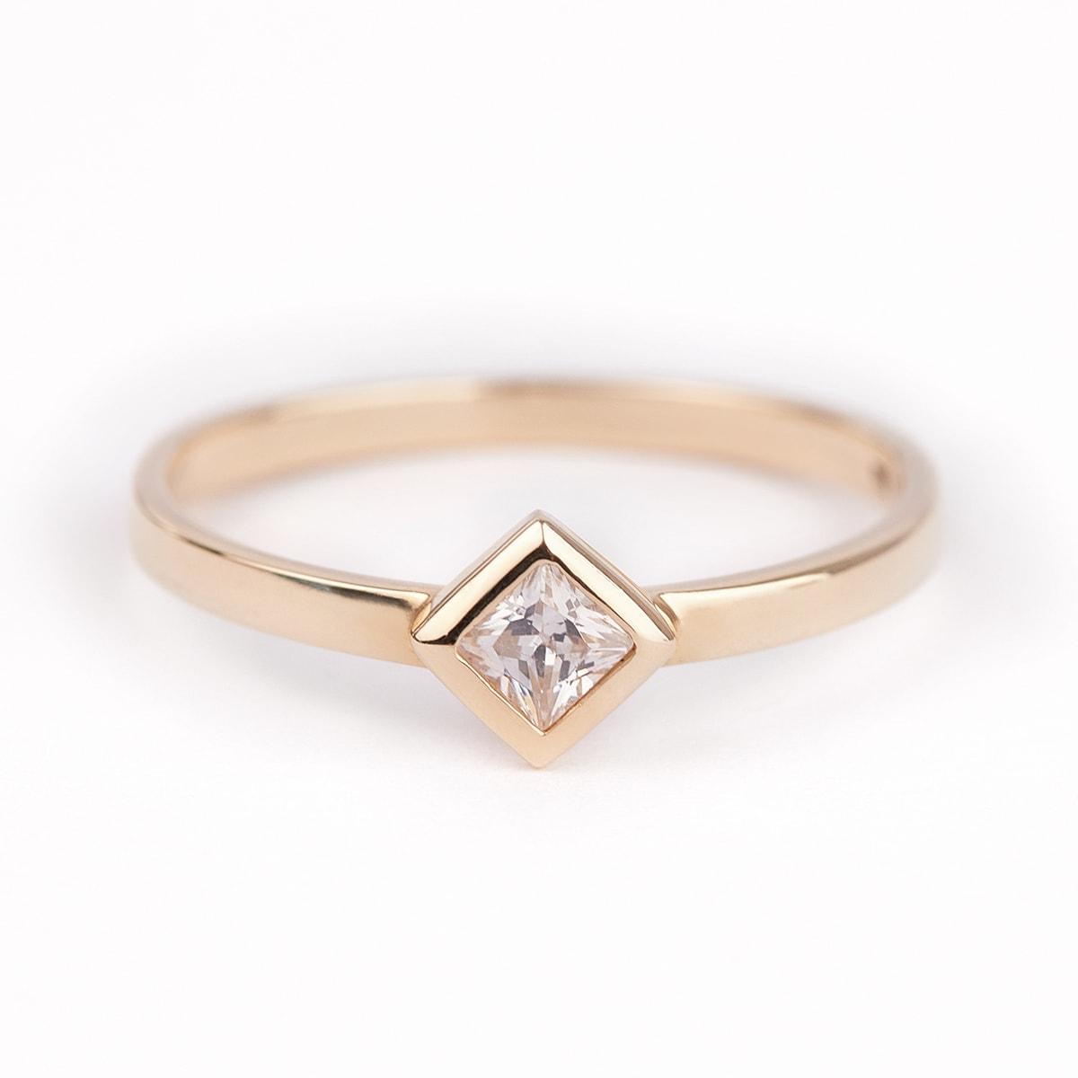 KLENOTA  Ring aus Gelbgold mit einem Diamanten  Ringe Diamant