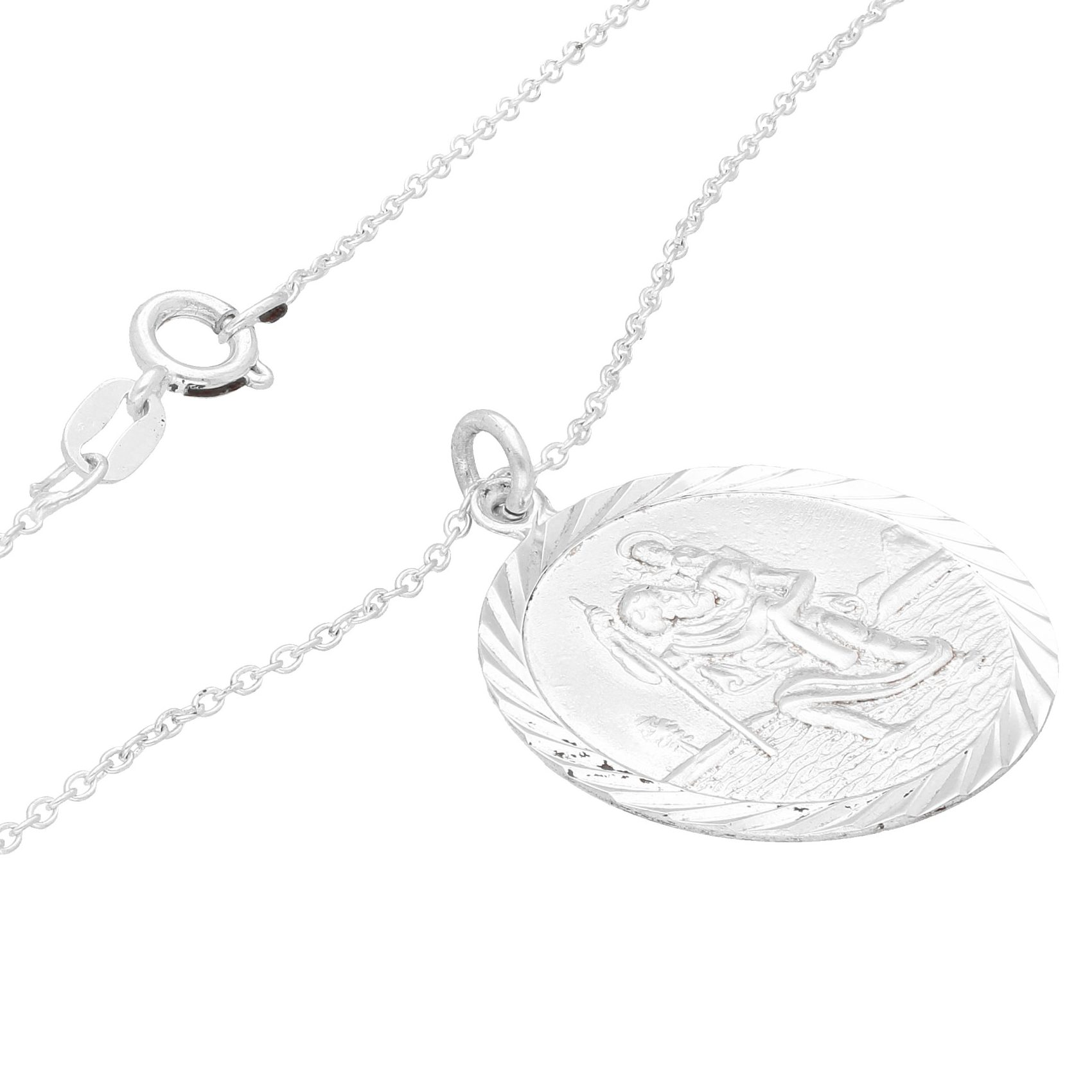 Sterling Silver St Christopher Pendant(24mm) w/ 16.5