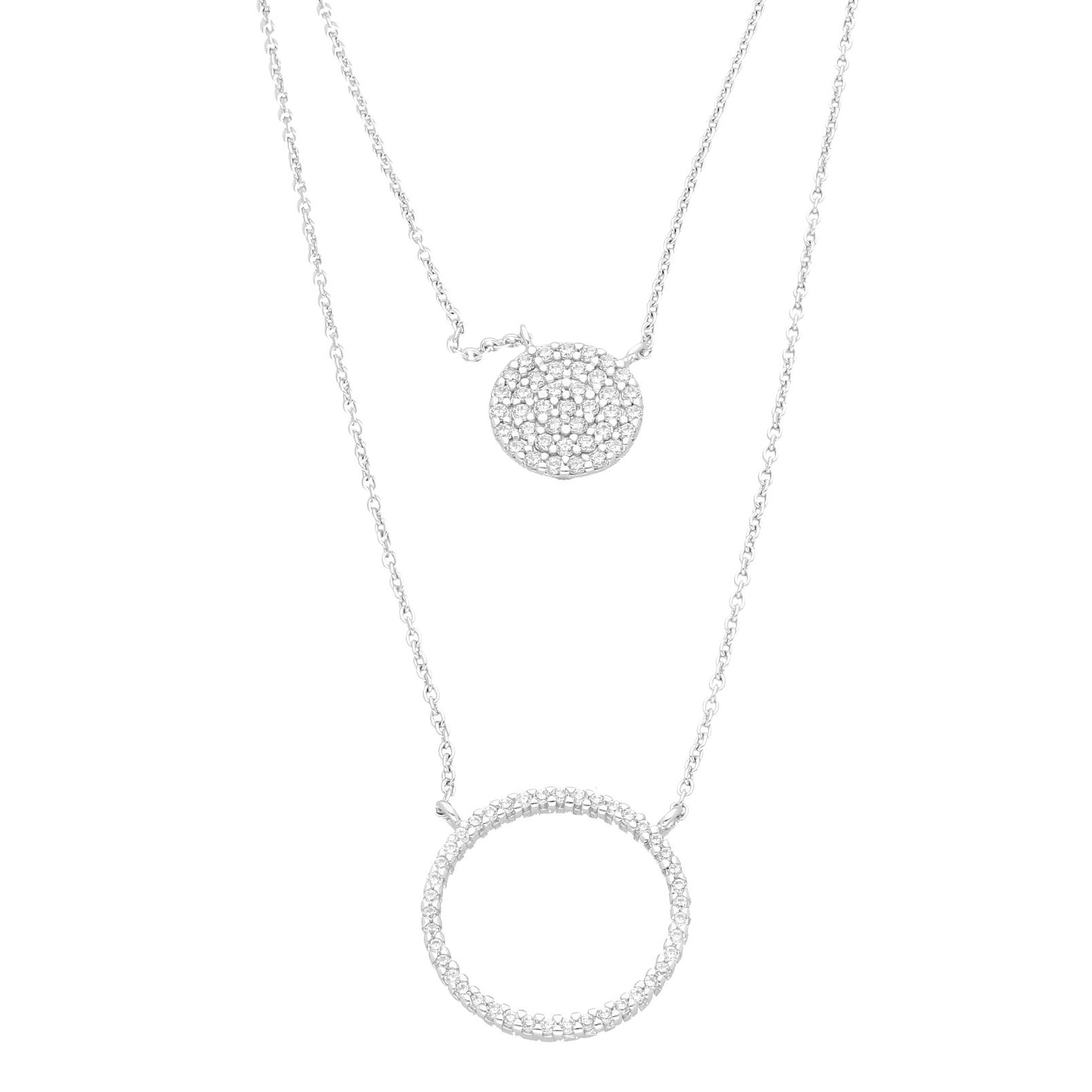 Sterling Silver Simulated Diamond Double Halo Pendant w