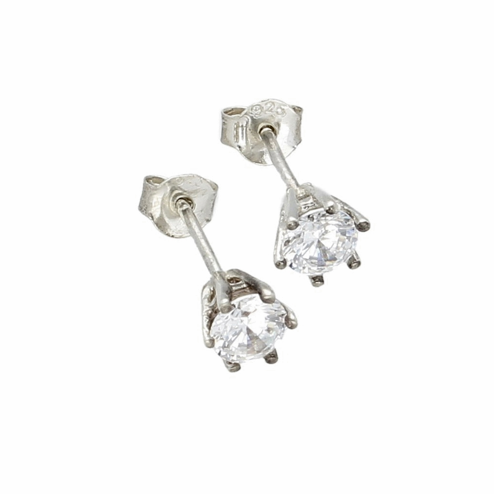 Sterling Silver Simulated Diamond Stud Earrings (5mm Head