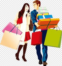 Shopping Cartoon men and women cartoon Character template png PNGEgg