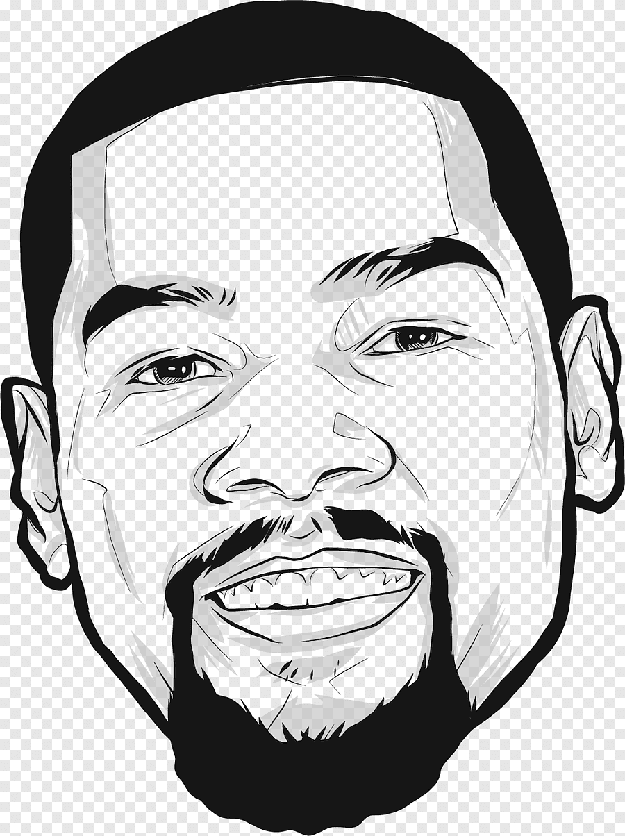 How To Draw Kevin Durant : kevin, durant, Kevin, Durant, Graphic,, Golden, State, Warriors, Oklahoma, Thunder, Drawing, Finals,, Face,, Monochrome, PNGEgg