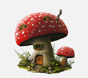 Orange and multicolored ceramic mushroom house miniature Fairy House Window Garden Roof Fairy building room png PNGEgg