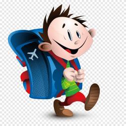 Carrying a bag to go to school cartoon hand painted children blue bag cartoon boy png PNGEgg
