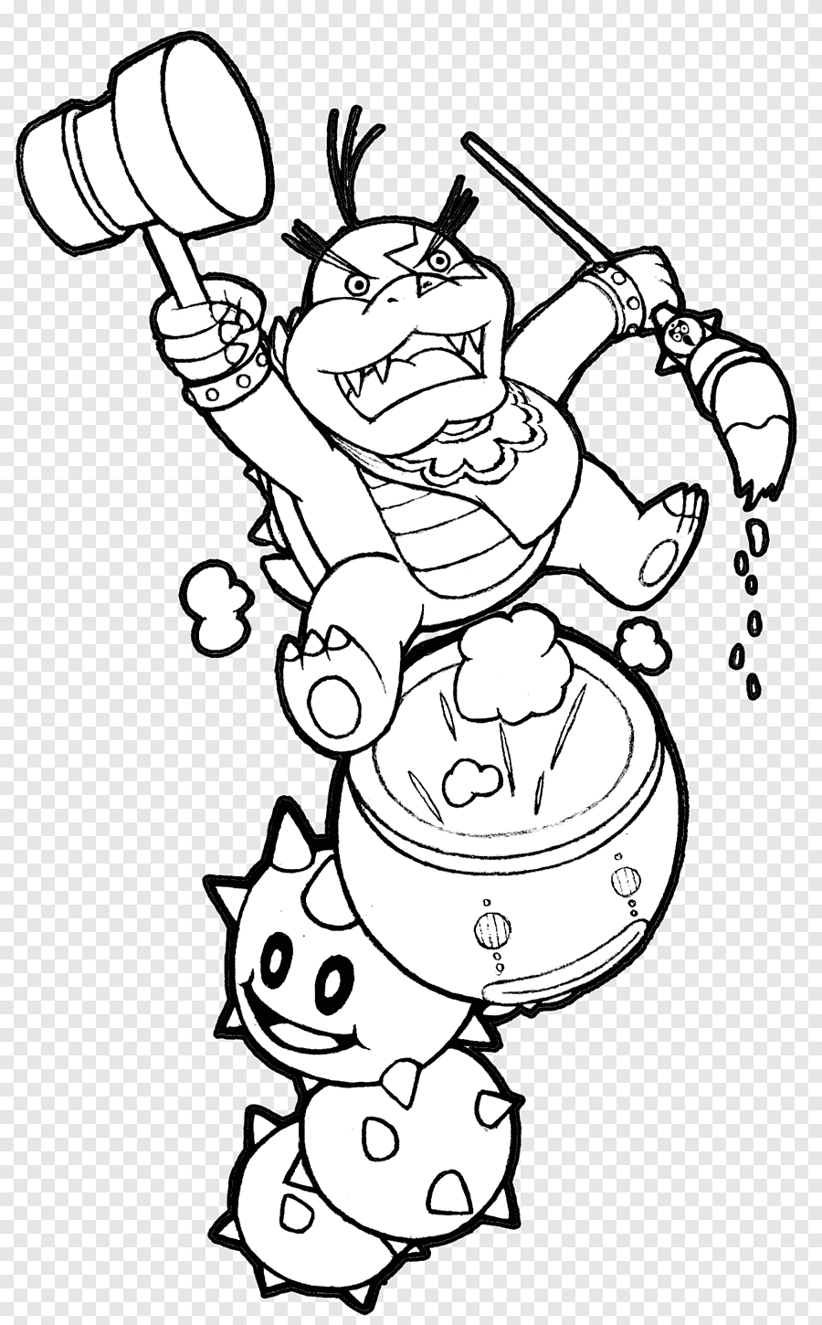 Koopalings Coloring Pages : koopalings, coloring, pages, Bowser, Super, Mario, Bros., Coloring, Koopalings,, Mario,, Angle,, White, PNGEgg