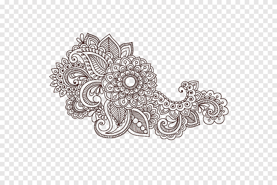 Colouring Pages Paisley Designs Coloring Book Mehndi Mandala Henna Powder Child Adult Png Pngegg