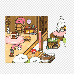 Dibujo de dibujos animados de neko atsume hay deliciosas casas de dulces por todas partes comida mano png PNGEgg