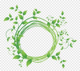 Graphy Green leaf round frame diagram green plant illustration frame golden Frame png PNGEgg