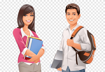Student College University Male and female cartoon college students male and female drawings cartoon Character tshirt png PNGEgg