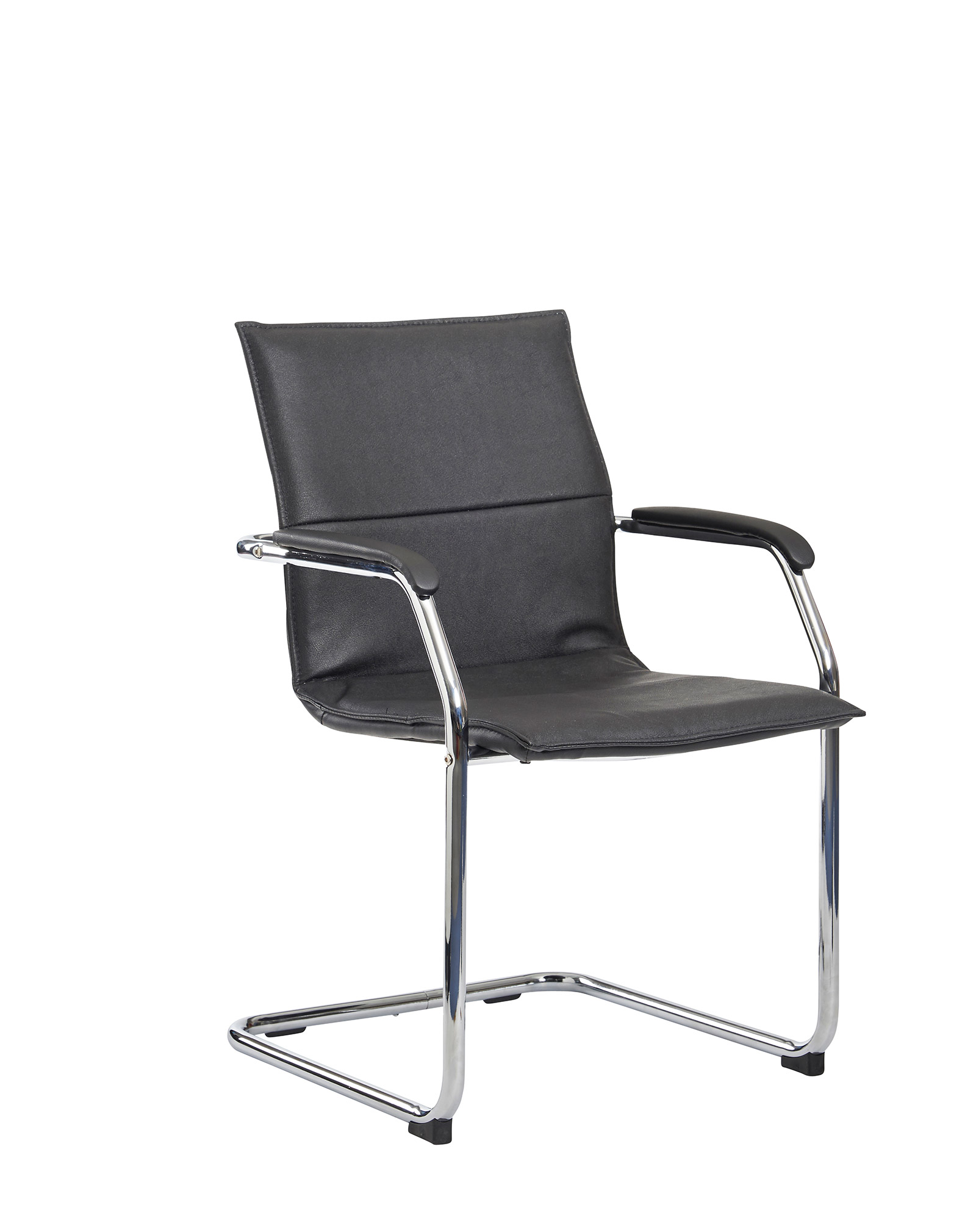 Essen meeting room cantilever chair  black faux leather