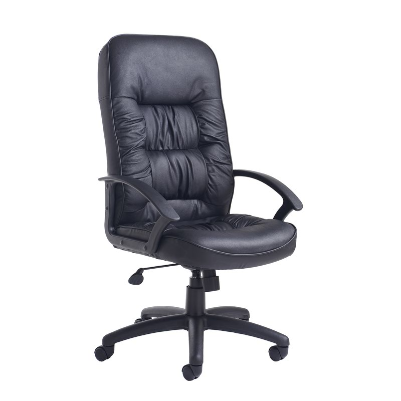 King Chairs King High Back Managers Chair Black Leather Faced