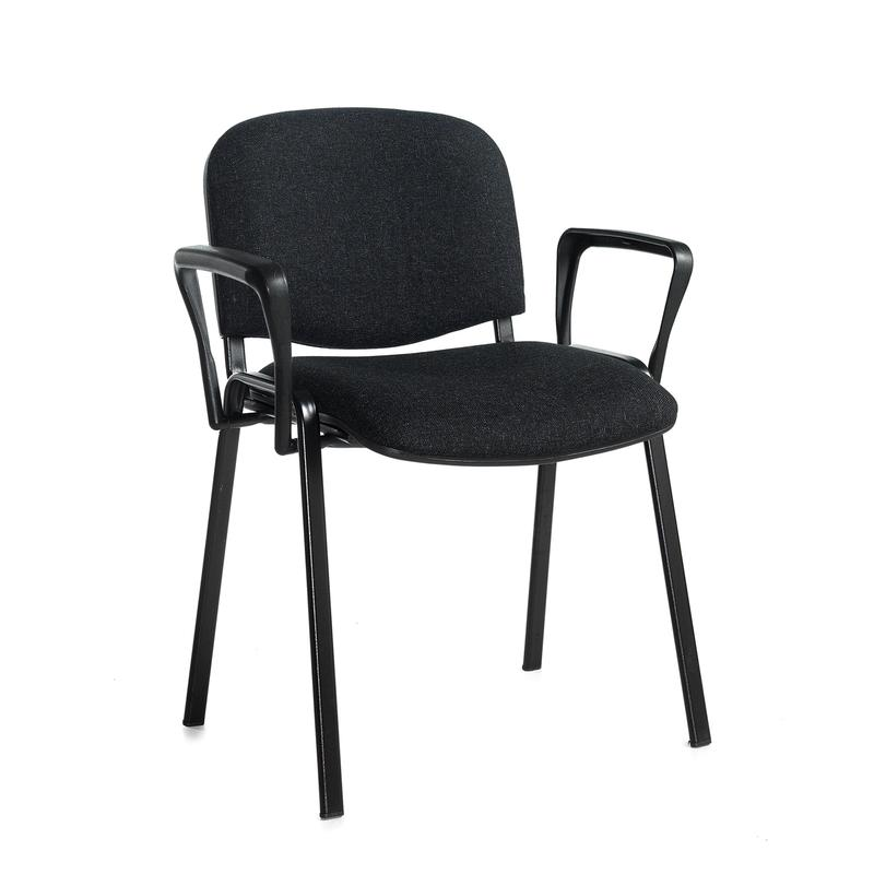 stackable chairs with arms blue leather dining uk taurus meeting room chair black frame and