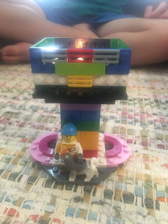 A LEGO chalice made by Finnegan and David Funderburk with a tea light