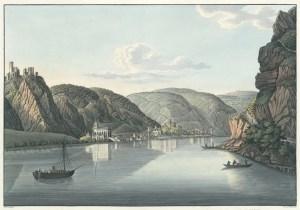 Historischer Stich: Die Straße von Oberwesel und die Ruine von Schaumburg. (Bild: Österreichische Nationalbibliothek/Public Domain, http://europeana.eu/)
