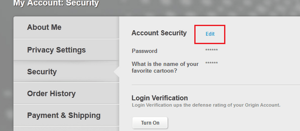 Click the security tab and then click edit beside account security