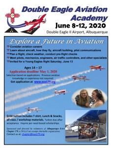 Flyer for Double Eagle Aviation Academy, Jun 8-12, 2020