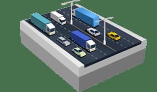 Estrada de seis pistas em SimCity BuildIt.