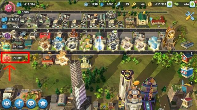 Ícone das Tarefas na tela do jogo SimCity BuildIt.