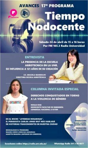 ESTE SÁBADO 24 DE ABRIL, ENTREVISTA CON LA DIRECTORA GRACIELA MANDOLINI EN RADIO UNIVERSIDAD