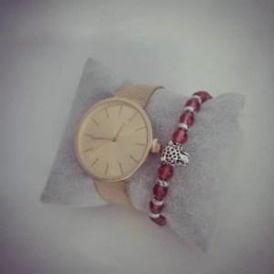 Montre Bronze avec Bracelet Leopard rouge