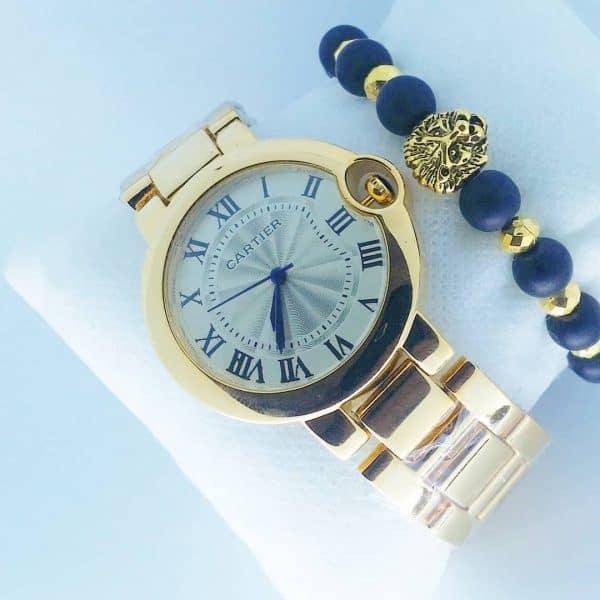 Montre Cartier Dorée Ballon Bleu avec Bracelet Lion Doré
