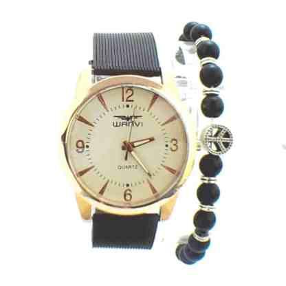 Montre Wanvi Doré avec Bracelet Peace love en Boite Cadeau