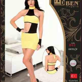 Lingerie Chemise Sexy Seduction - Jaune Noir