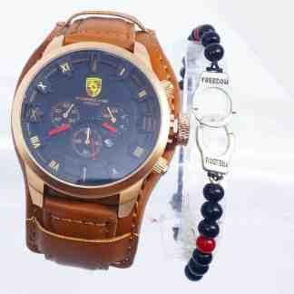 Montre Porsche interieur Noir Cuir Marron + Bracelet(1)