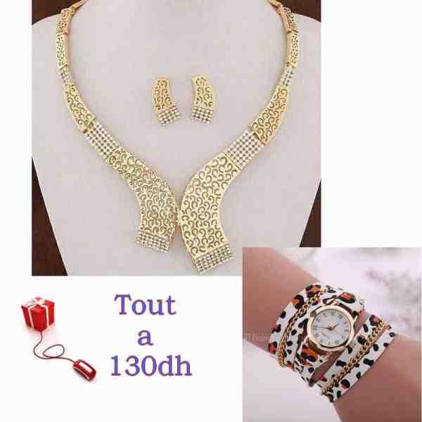 Ensemble Collier Boucle d oreille et Montre Bracelet