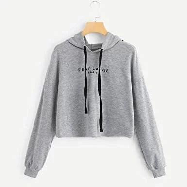 Sweat à capuche Taille haute pour Femme - gris