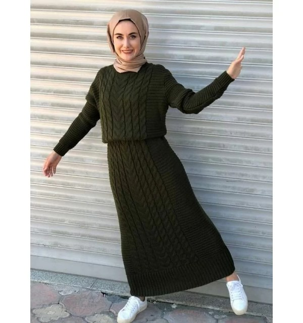 Robe longue tressé Kaki Maroc