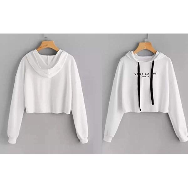 Sweat à capuche Taille haute pour Femme - Blanc maroc