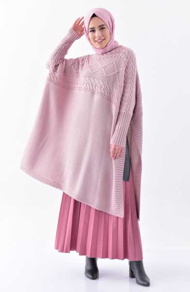 Tunique Pull longue en maille Tricot Disponible en plusieurs couleurs Taille Standard couleur rose hijab